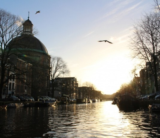 Amsterdam gracht at sunset