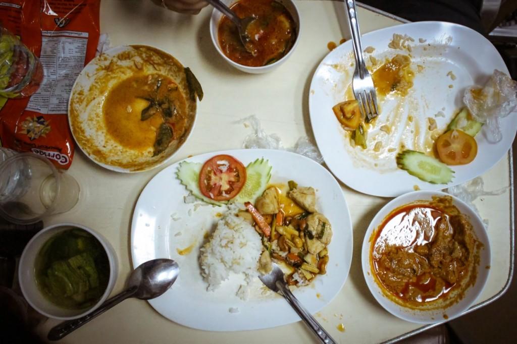 Table of food Thai sleeper train