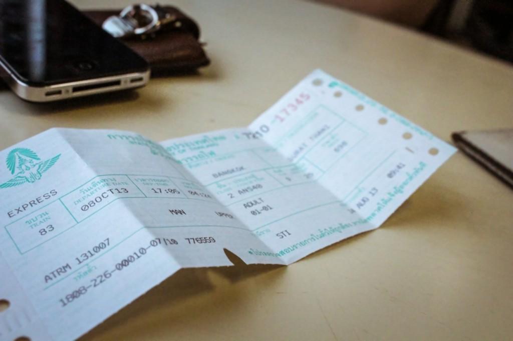 Ticket Thai sleeper train