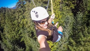 In the air, zipline in WHistler, Canada