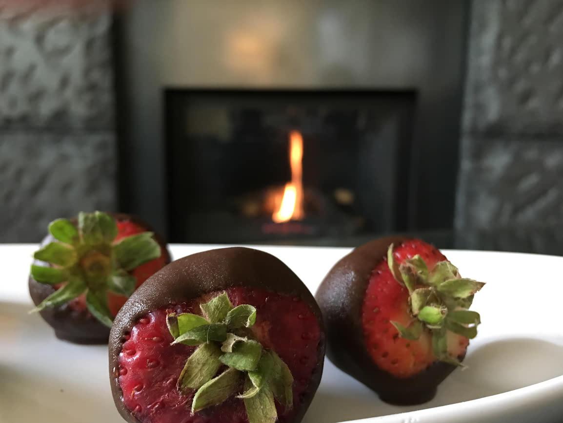 Strawberries with chocolate treat