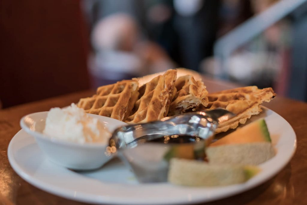 Waffles for breakfast at Magnolia Hotel & Spa
