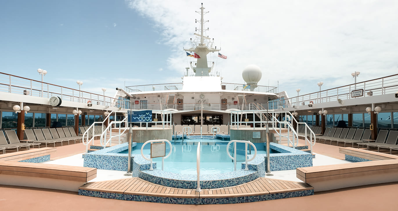 Pool deck on the Adonia