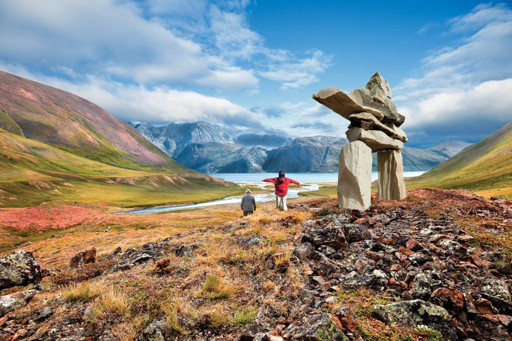 Labrador-Torngats Mountains Inukshuk and People
