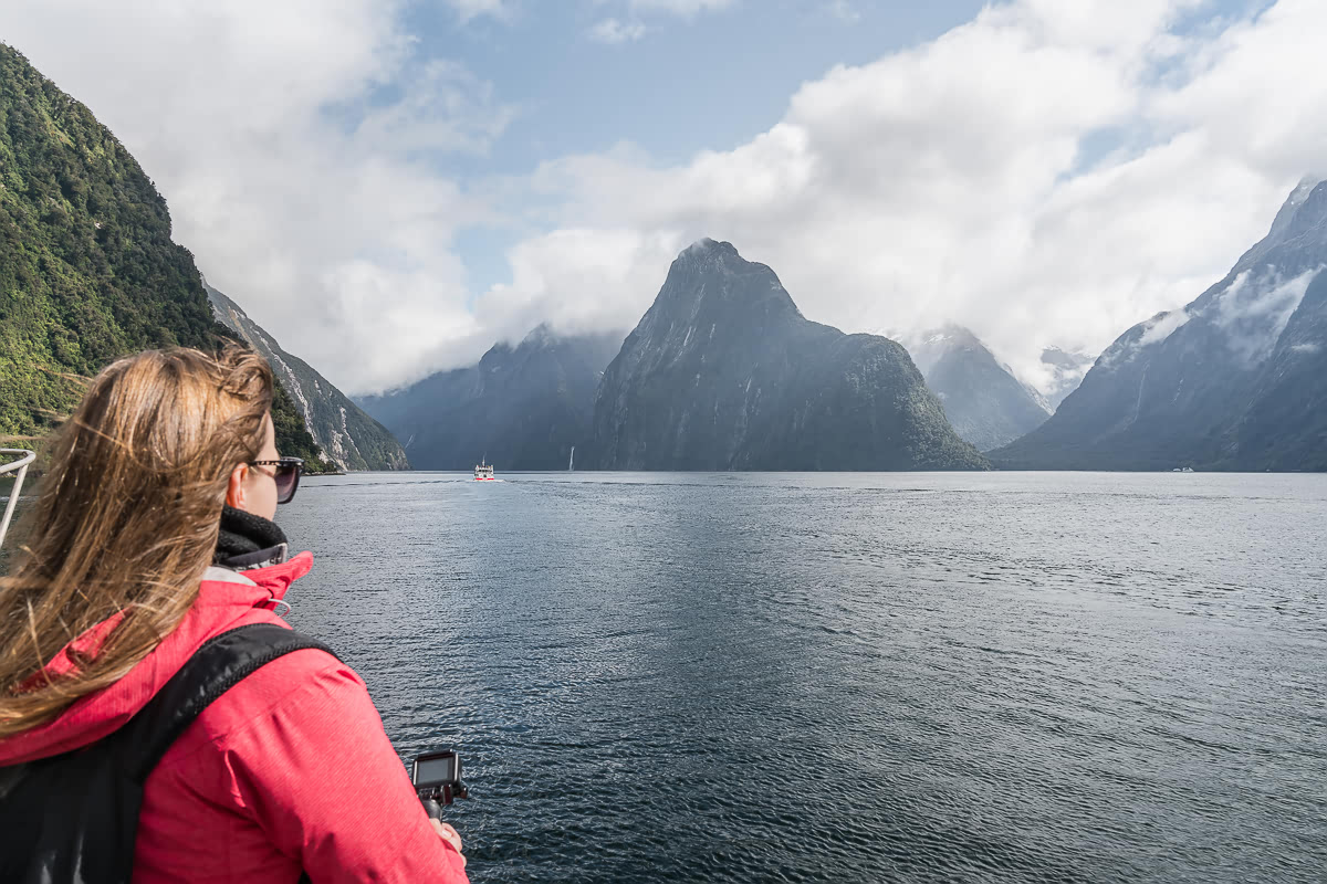 Looking out over Milford Sound