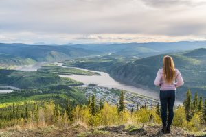 Looking out over Dawson City Yukon road trip