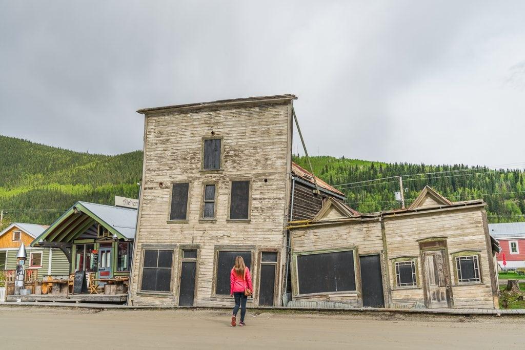 Slanted houses Dawson City Yukon