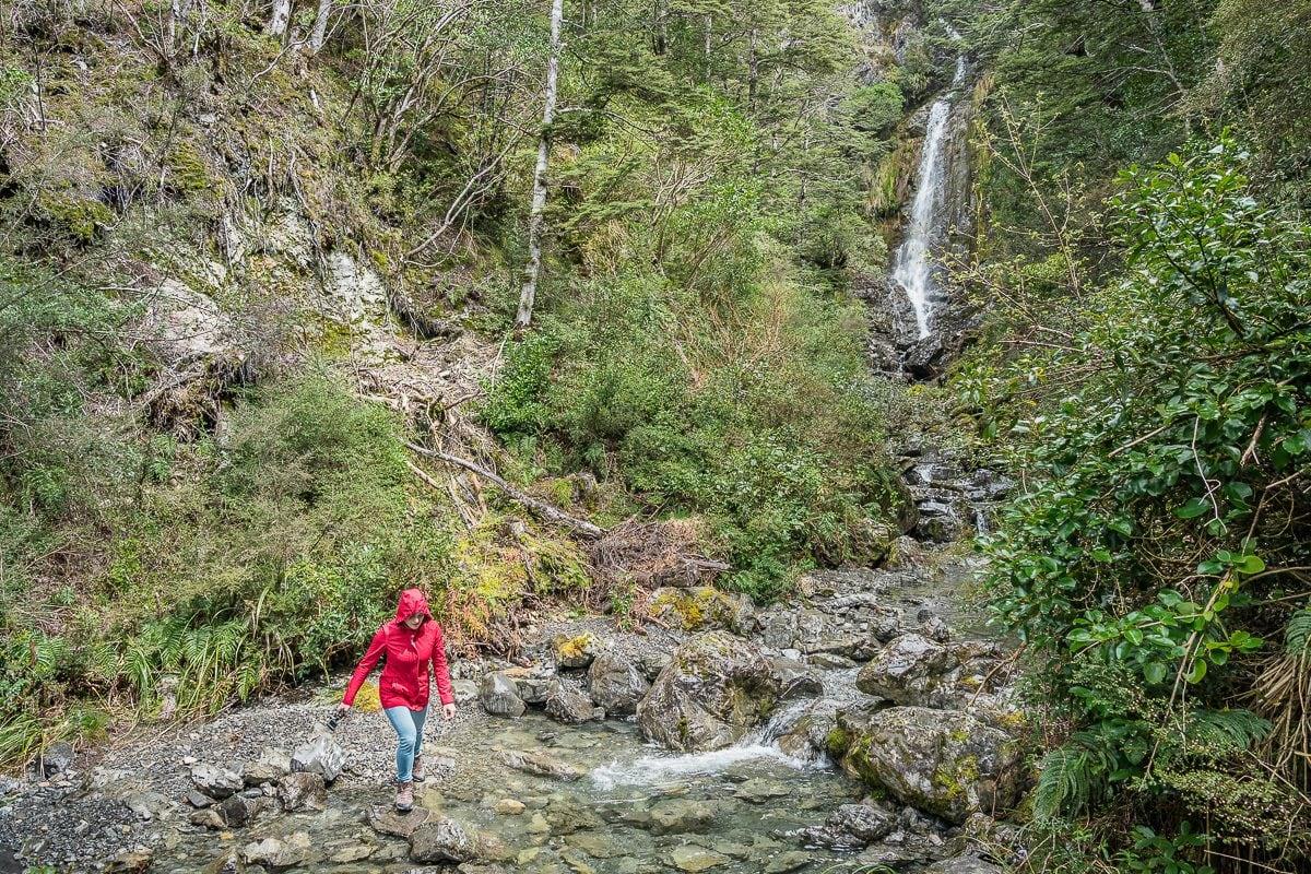 hiking waterfall arthurs pass nz