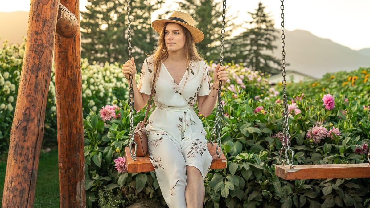 Sitting amongst flowers