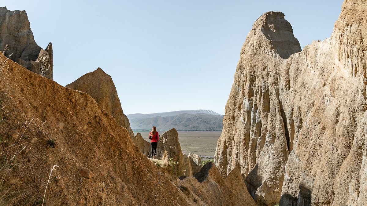View of the Omarama Clay Cliffs nz